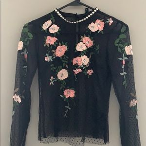 NWT Topshop Petite Embroidered Patchwork Top US 4